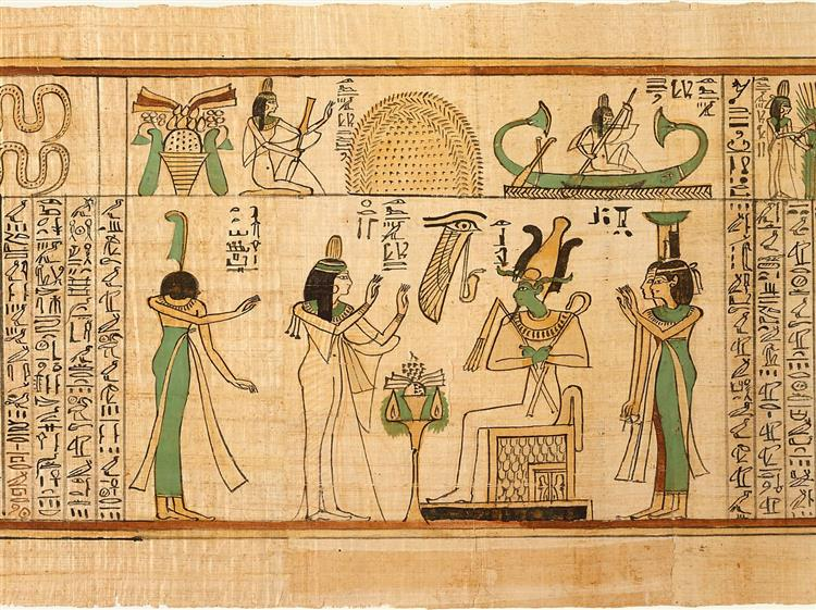 Nany Before Osiris, Isis and Nephthys (Book of the Dead for the Singer of Amun, Nany), c.1050 BC - Ancient Egyptian Painting
