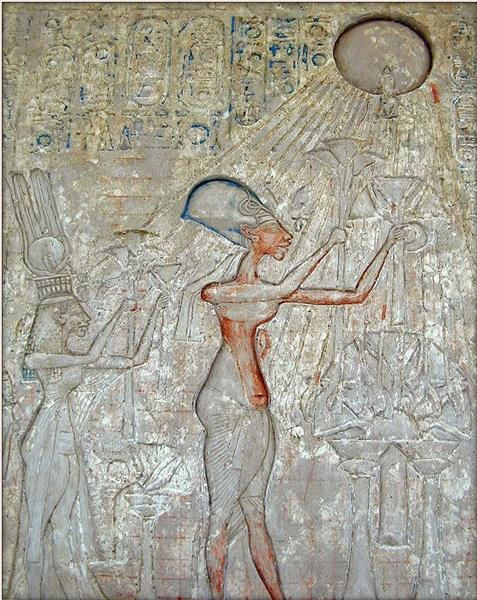 Relief of Akhenaten, Nefertiti and Two Daughters Adoring the Aten, c.1372 - c.1350 BC - Ancient Egypt