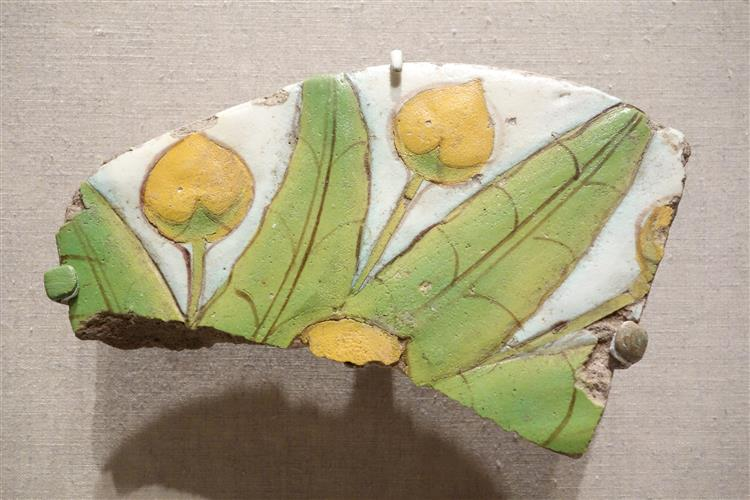 Tile Fragment with Mandragora Fruit and Leaves, c.1352 - c.1336 BC - Ancient Egypt