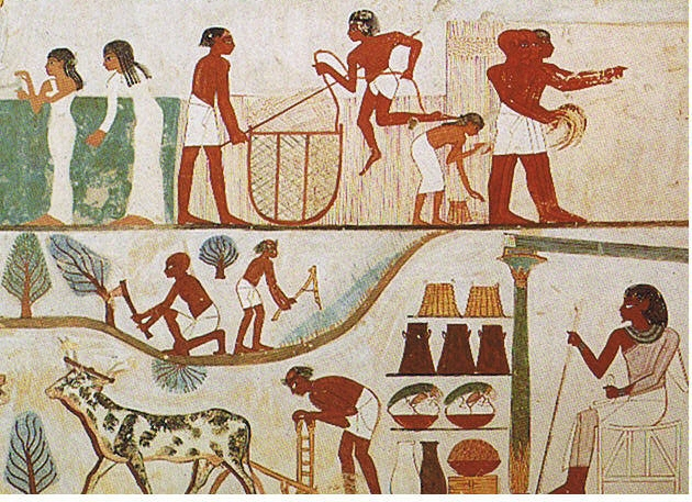 Agricultural Scene from the Tomb of Nakht, 18th Dynasty Thebes, c.1390 BC - Ancient Egypt