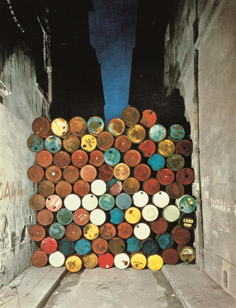 Wall of Oil Barrels – The Iron Curtain (Paris) - Christo and Jeanne-Claude