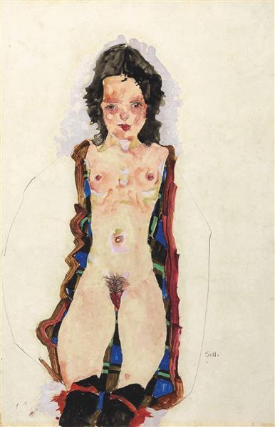 Nude with Red Garters, 1911 - Egon Schiele