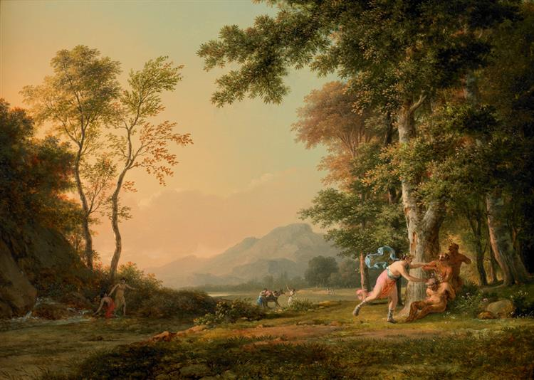A Wooded Landscape with a Bacchic Scene - Pierre-Henri de Valenciennes