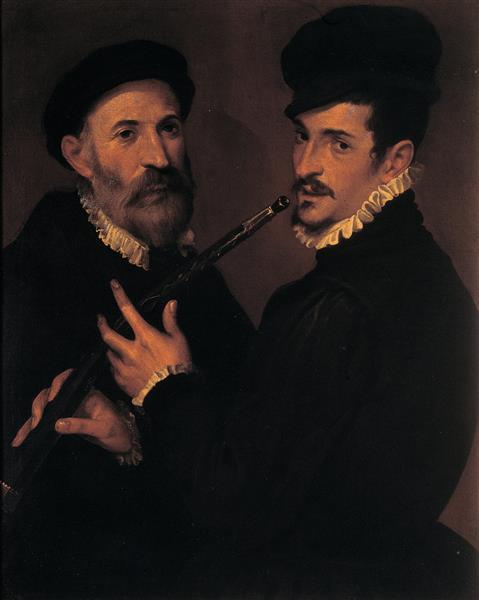 Double Portrait of Musicians, c.1577 - c.1579 - Бартоломео Пассаротти