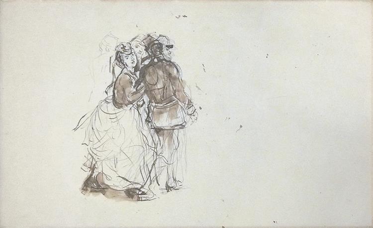 Etude pour le tableau 'Le Départ Des Mobiles' (groupe Central) - Alfred Dehodencq