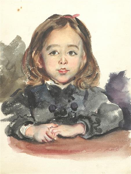 Portrait de Marie, fille de l'artiste, c.1870 - Alfred Dehodencq