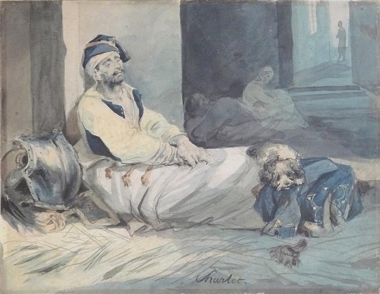 Wounded cuirassier lying on the ground, a dog lying on his feet - Charlet