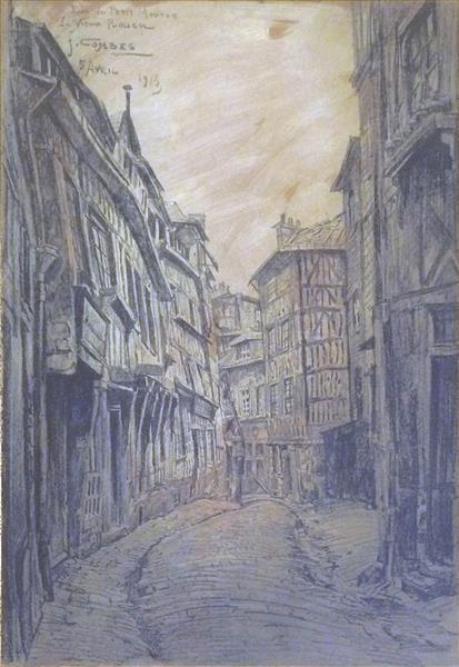 Le Vieux Rouen, Rue Du Petit Mouton, 1913 - Fernand Combes