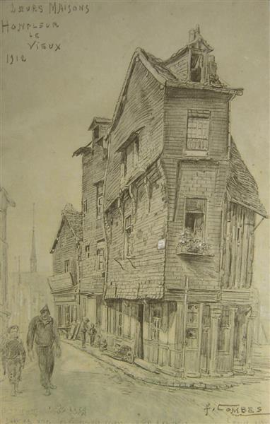 """Honfleur Le Vieux, """"Leurs Maisons"""", 1912 - Fernand Combes"""