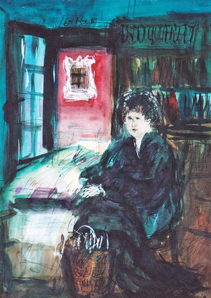 In An Old Bookstore, c.1995 - Maria Bozoky