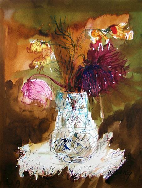 Flowers in Crystal Vase, 1994 - Maria Bozoky