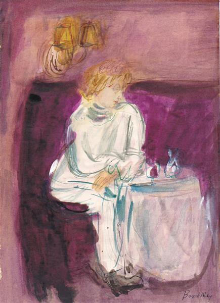 With a glass of Wine, 1987 - Maria Bozoky
