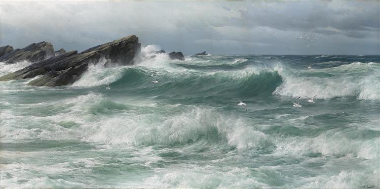Waves Breaking on a Rocky Coast - David James