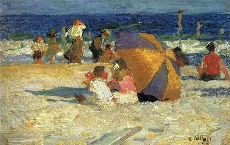 Beach Umbrella - Edward Henry Potthast