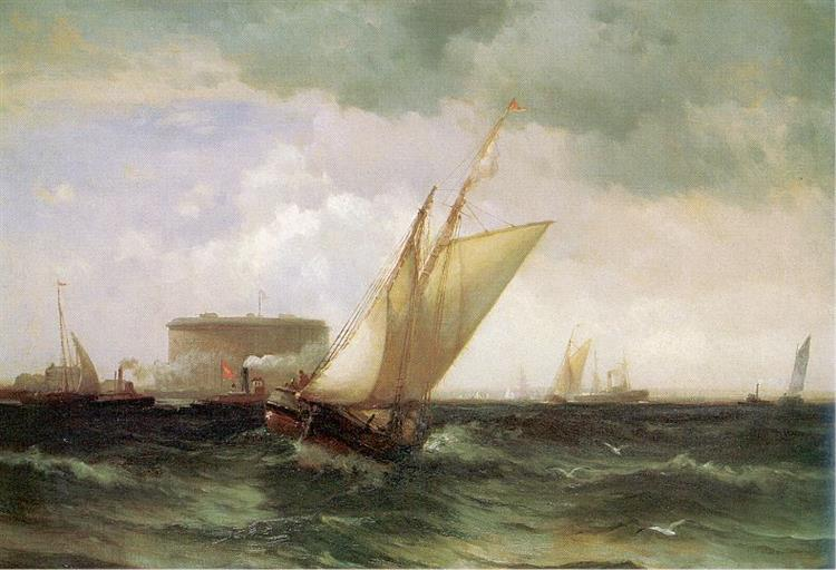 Shipping in NY Harbour - Edward Moran
