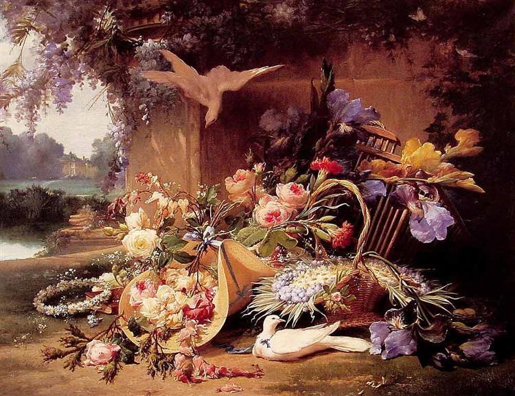 Elegant Still Life with Flowers - Eugene Bidau