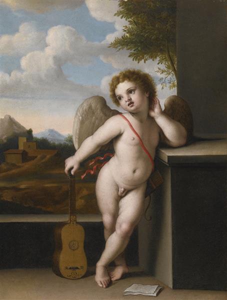 An Angel Holding a Guitar - Giovanni Battista Salvi da Sassoferrato