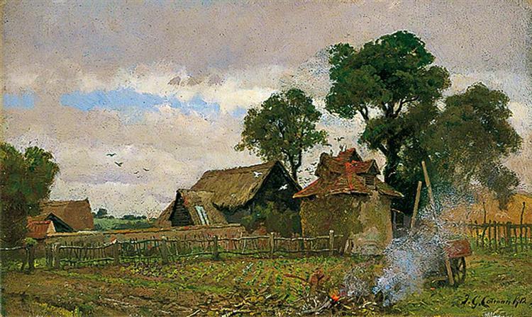 Farmyard and Dovecote, Nettlestead, 1912 - Frederick George Cotman