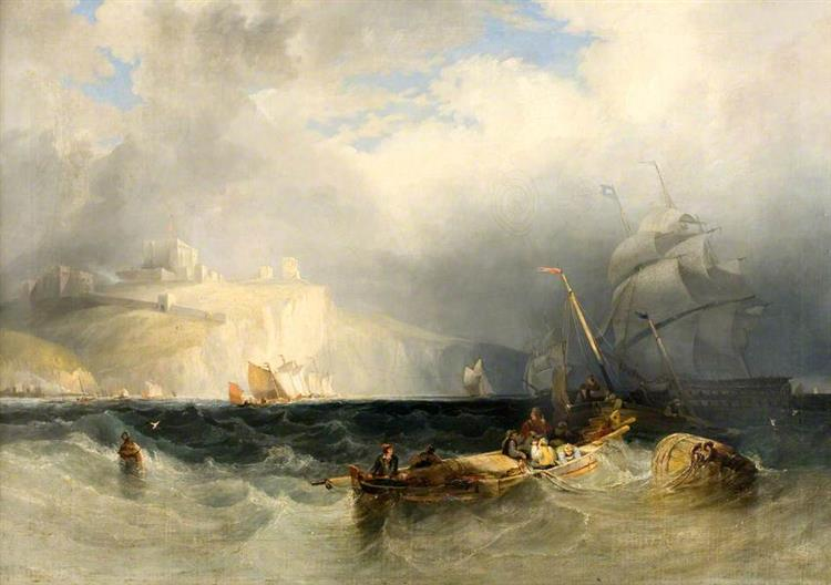 French Fishing Boats in a Gale of Wind off Dover - George Philip Reinagle