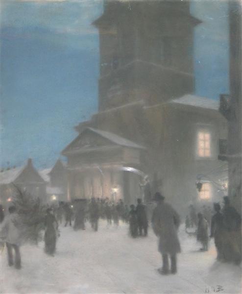 Juleaften Uden for Frue Kirke - Hans Andersen Brendekilde