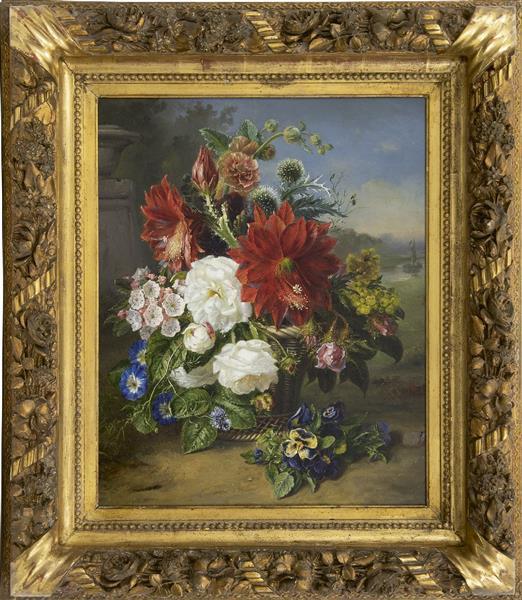 Flower still life in wicker basket - Helen Augusta Hamburger