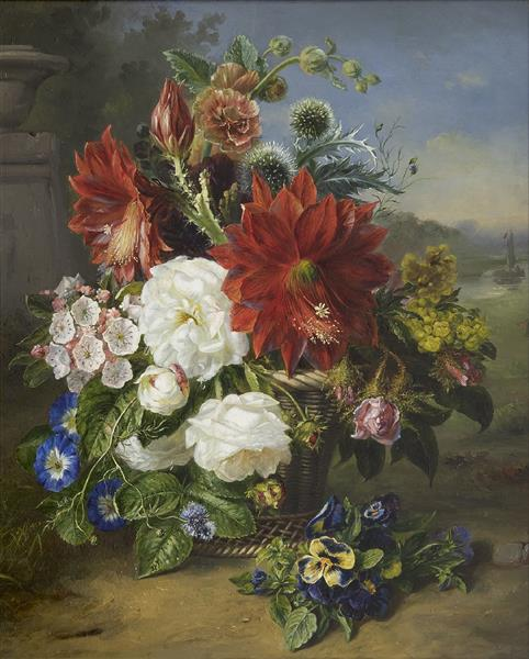Flower Still Life in a Basket - Helen Augusta Hamburger