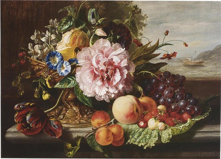Still Life with Flowers and Fruit, 1862 - Helen Augusta Hamburger