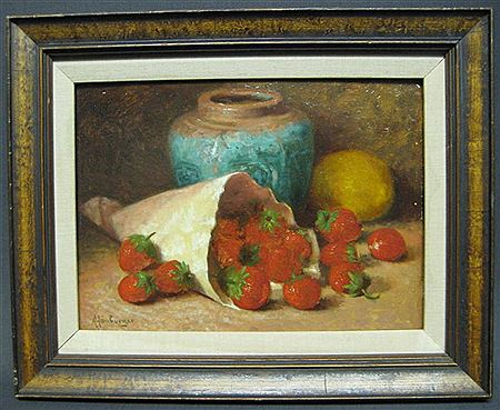Still Life with Strawberries, Ginger Pot and Vase - Helen Augusta Hamburger