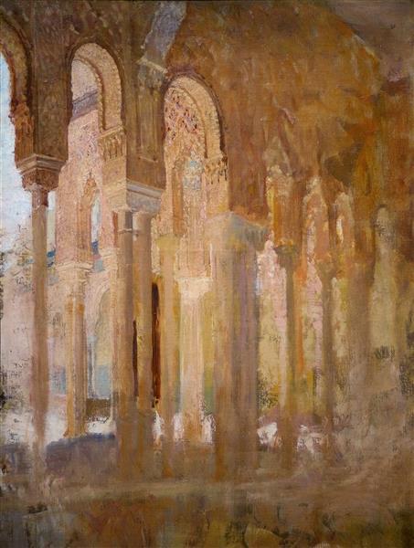 Colonnade Du Patio Des Lions De L'alhambra - Henri Regnault