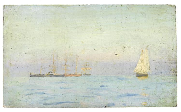 Boats on a calm sea - Henry Scott Tuke