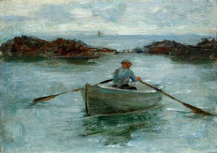 Man Rowing a Dinghy - Henry Scott Tuke