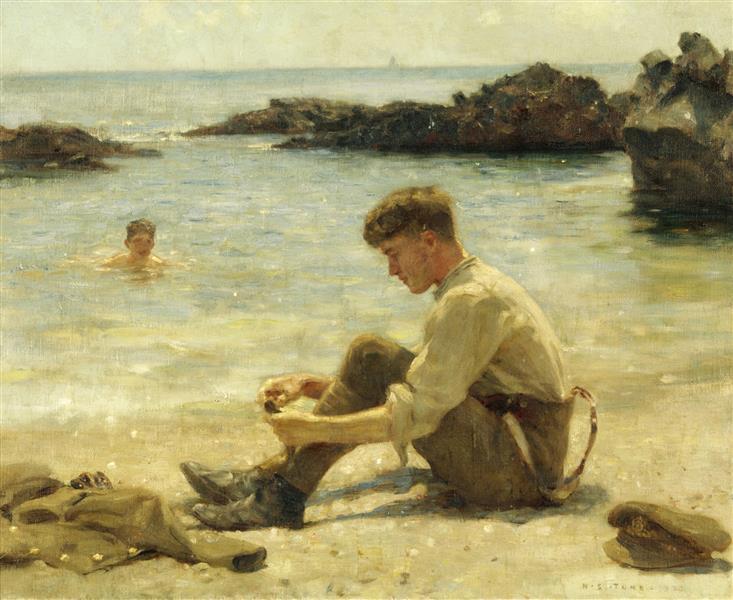 T. E. Lawrence as a Cadet at Newporth Beach, near Falmouth - Henry Scott Tuke