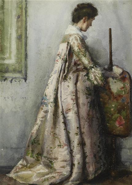 The Silk Gown, Portrait of Maria Tuke Sainsbury - Henry Scott Tuke