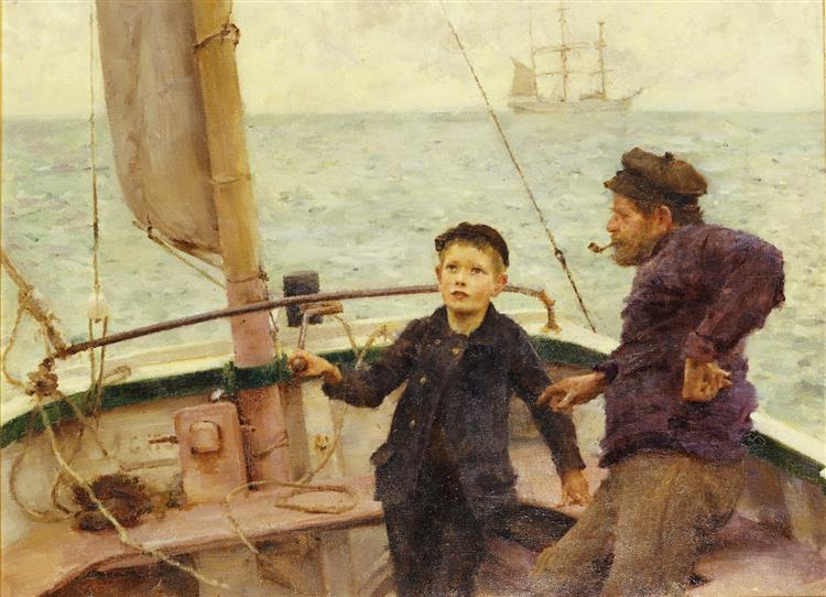 The Steering Lesson - Henry Scott Tuke