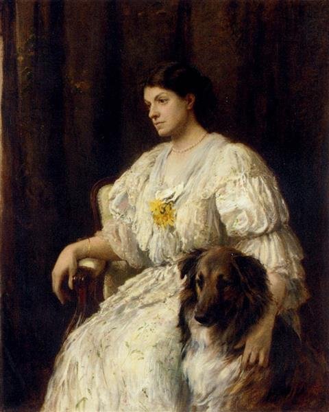 Portrait of a Lady with Her Collie - Heywood Hardy