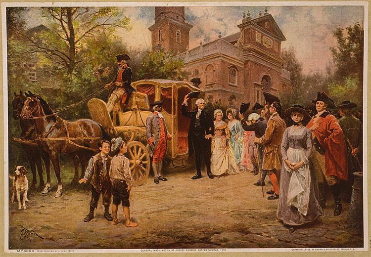 General Washington at Christ Church, Easter Sunday, 1795, 1908 - Jean Leon Gerome Ferris