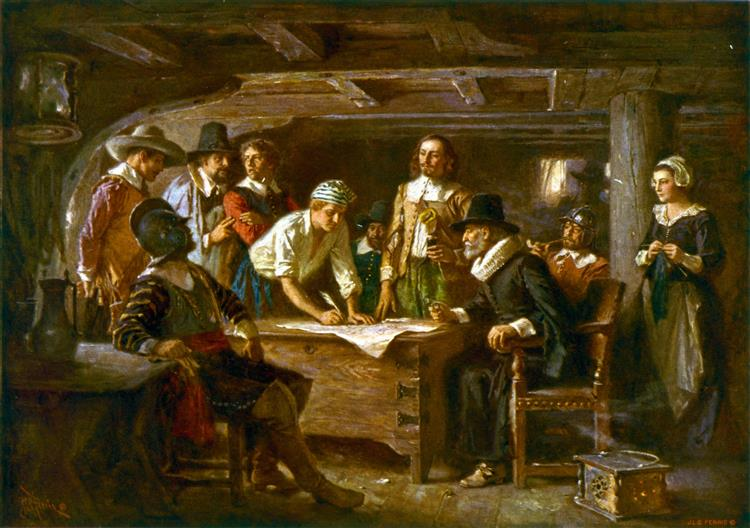 The Mayflower Compact, 1620 - Jean Leon Gerome Ferris