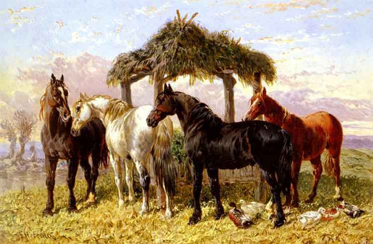 Horses and Ducks by a River - John Frederick Herring Sr.