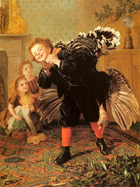 Here's The Gobbler!, c.1877 - Sophie Gengembre Anderson