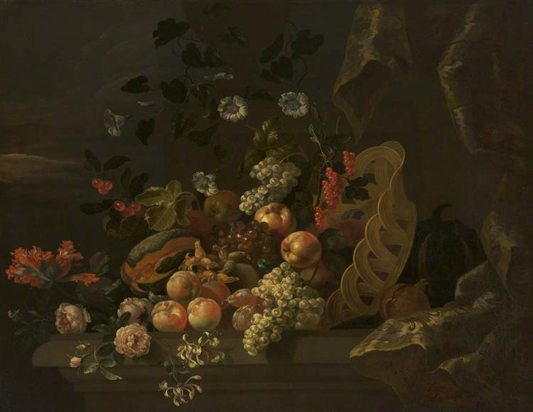 Still Life with a Basket of Fruit and Flowers - Tobias Stranover