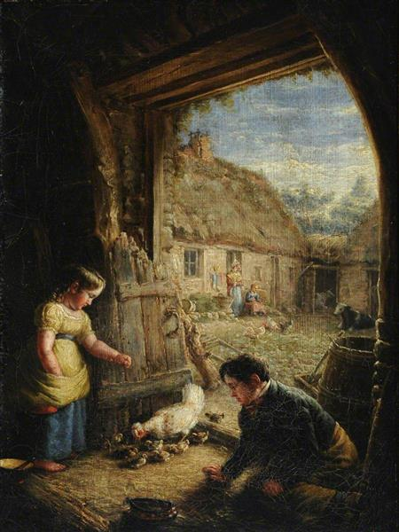Two Children Feeding Chickens - William Shiels