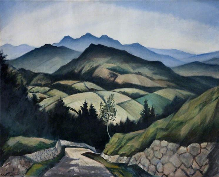 A Mountain Landscape in Wales - C. R. W. Nevinson