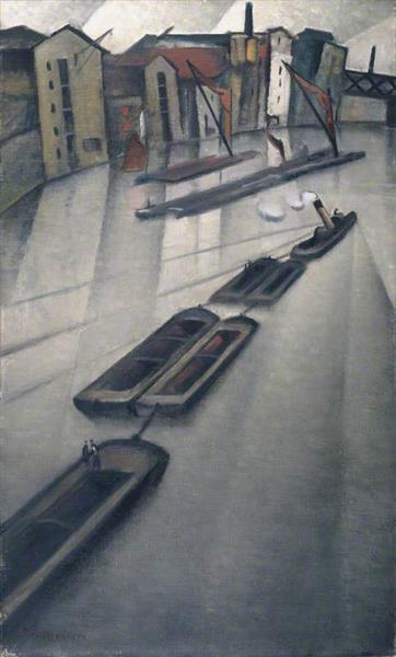 Barges on the Thames - C. R. W. Nevinson