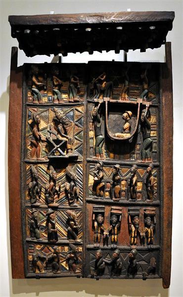 Pair of Door Panels and Lintel - Olowe of Ise