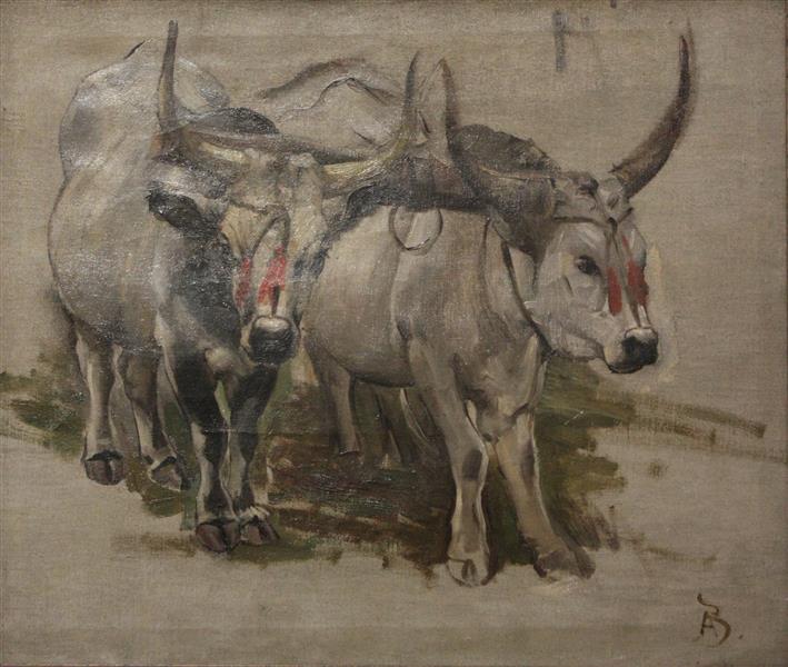 Attelage De Zébus En Inde, Étude - Paul-Albert Besnard