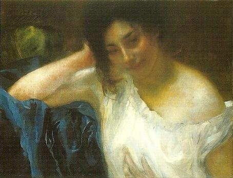 A Woman with a Blue Drapery - Paul-Albert Besnard