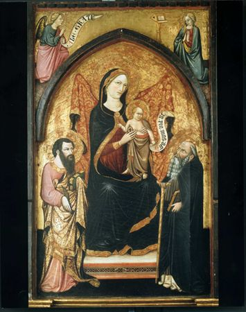 Virgin between St. Bartholomew ant S. Anthony, c.1410 - Álvaro Pires de Évora