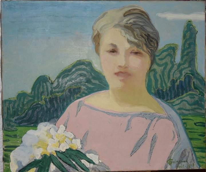 Portrait of a woman in pink, 1918 - Hélène Guinepied