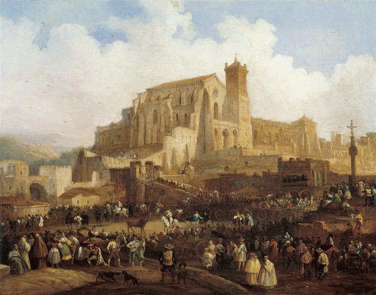 Village Bullfight, c.1838 - Jenaro Pérez Villaamil