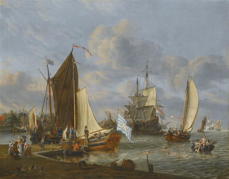 A Dutch Harbour Scene with Ships and Bathers - Abraham Storck